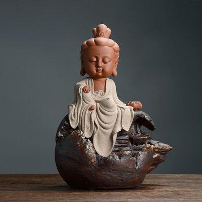 傳藝工坊 - 『童真系列 觀音菩薩』倒流香座 Q版 可愛 裝飾 藝術 收藏 彩砂陶 婆娑三聖