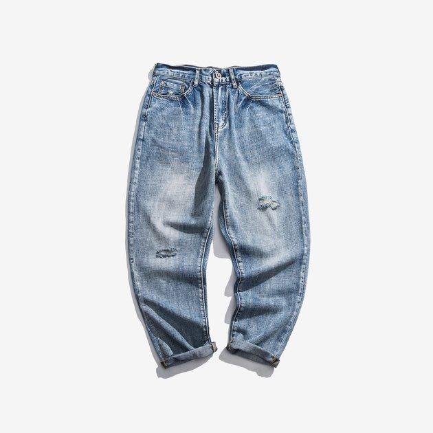 FINDSENSE 2019 秋季上新 牛仔褲 G7 噴馬流淺色牛仔褲 男褲 長褲