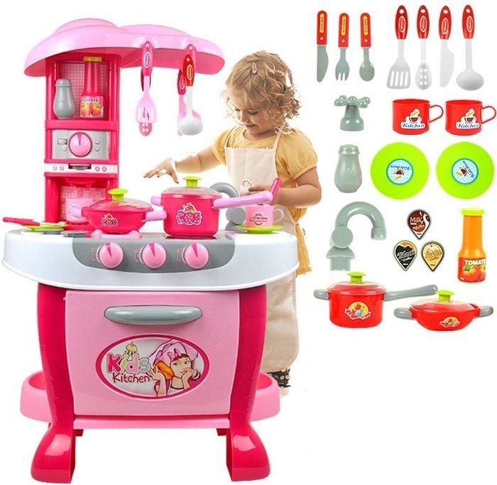 新款專櫃-超大豪華感應觸控仿真粉色廚房組~粉嫩大廚房~超多功能~家家酒玩具◎童心玩具1館◎