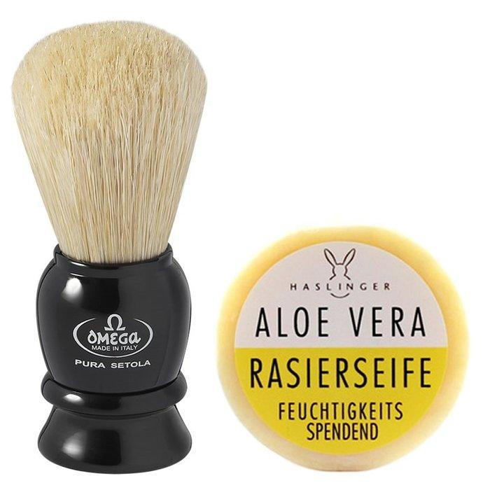 {Tebbys&Co.}義大利 Omega 專業刮鬍刷 黑白+奧地利 Haslinger 蘆薈刮鬍皂60g(裸裝)