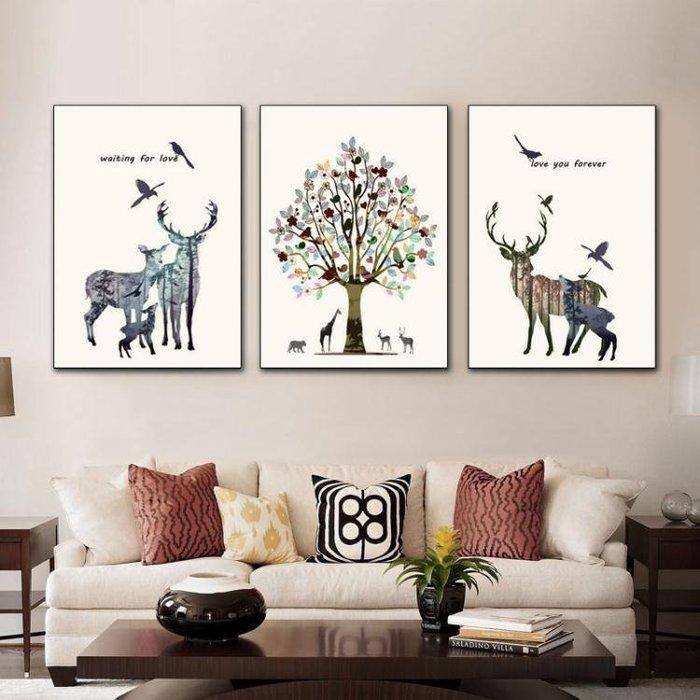 北歐客廳裝飾畫沙發背景牆壁畫三聯現代簡約餐廳簡歐掛畫油畫igo