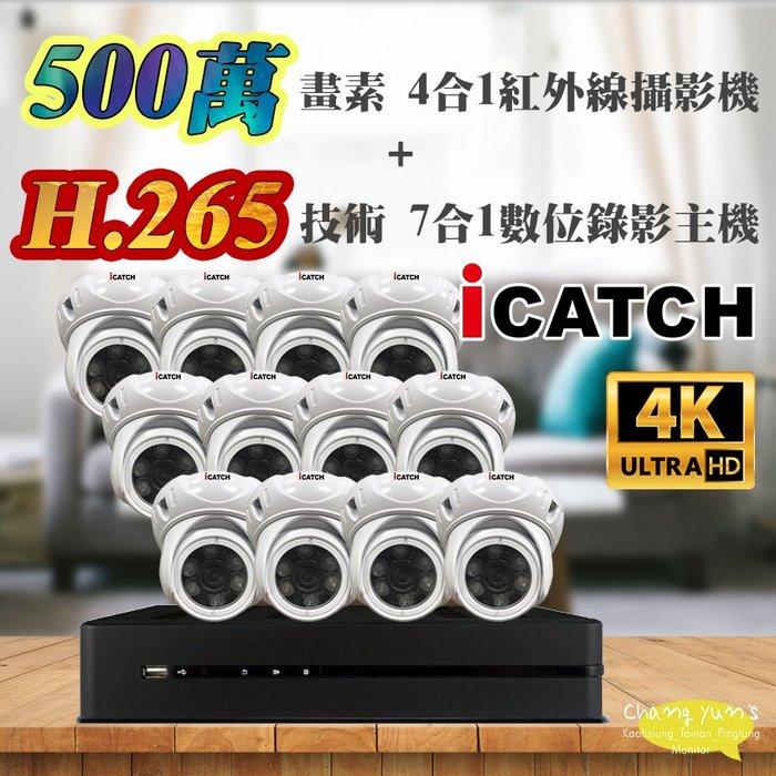 高雄/台南/屏東監視器 可取 套餐 H.265 16路主機 監視器主機+500萬400萬畫素 半球型紅外線攝影機*12