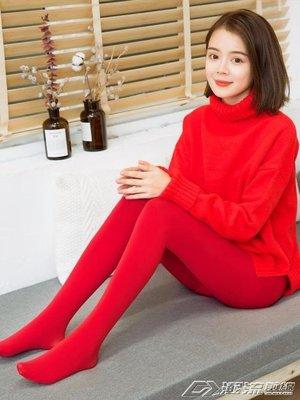 加絨加厚秋冬外穿紅色結婚打底褲女新款光腿神器肉色保暖連褲襪子