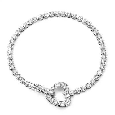 珠寶訂製18K金心型時尚排鑽手鍊 高品質天然真鑽一克拉以上心形鑽石手環 白K金 黃K金 玫瑰金 三色 Tiffany Cartier 風格
