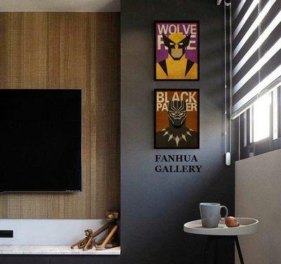 C - R - A - Z - Y - T - O - W - N 漫威英雄人物美式版畫蜘蛛人死侍金鋼狼黑豹電影裝飾掛畫