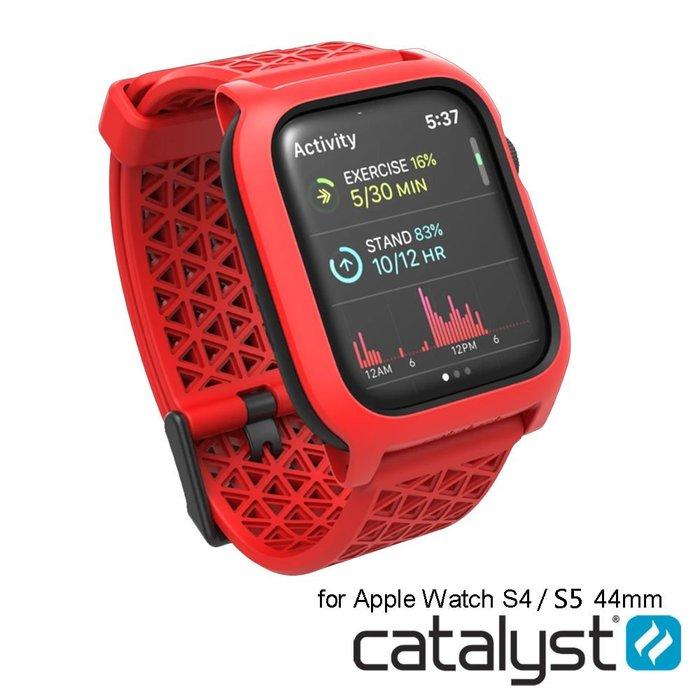 必搶 CATALYST FOR APPLE WATCH S4 / S5 44mm 耐衝擊防摔保護殼(含錶帶)-紅色/黑色
