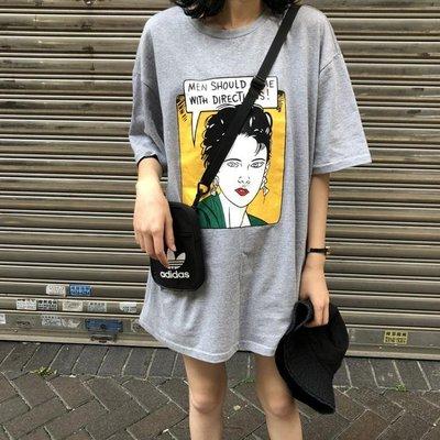 夏季 復古學院寬松BF百搭印花中長款短袖T恤女學生上衣
