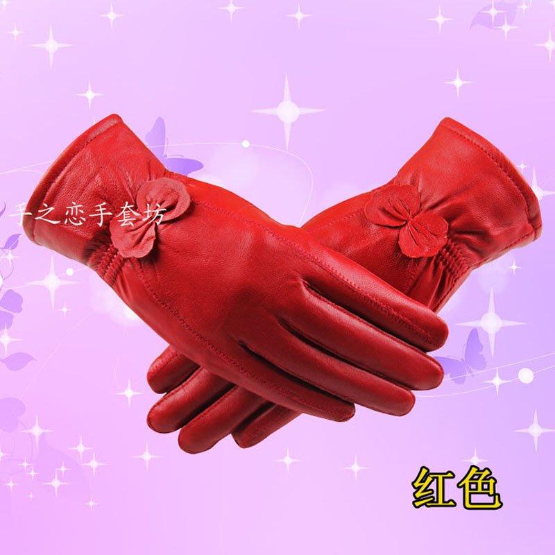 【天天特價】時尚女式女款戶外羊皮簡約特價真皮女士手套加絨秋冬