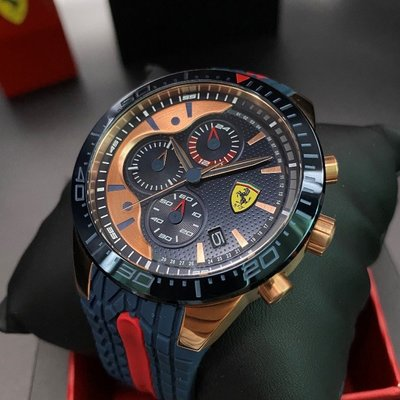 FERRARI法拉利男錶,編號FE00019,46mm寶藍圓形精鋼錶殼,寶藍色三眼, 運動錶面,寶藍矽膠錶帶款