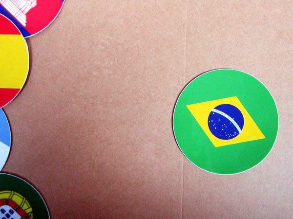 【國旗貼紙專賣店】巴西國旗圓形旅行箱貼紙/抗UV防水/Brazil/多國款可收集和客製