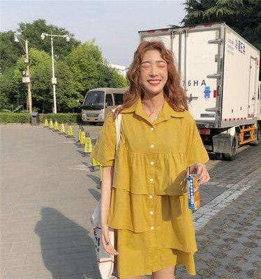 VSVSHOP♥實品照 清爽不規則蛋糕層五分袖襯衫 連衣裙 (黃/白) P96203