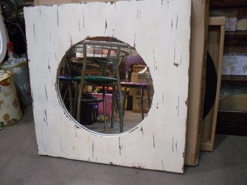 美生活館---  維多利亞刷舊白破壞式處理方型掛鏡