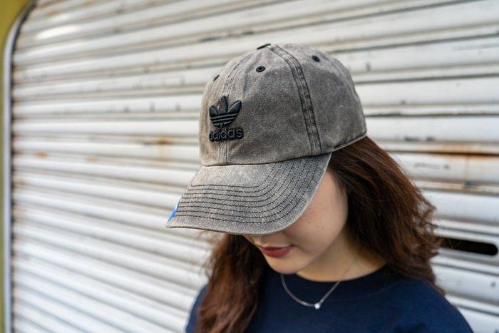 【A-KAY0】ADIDAS 男女 RELAXED OVERDYE STRAPBACK 老帽 牛仔黑【CK5033】