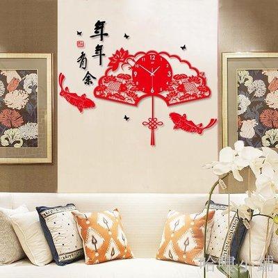哈嘍小鋪 中式創意客廳大號掛鐘 中國風現代喜慶藝術鐘表 靜音石英裝飾掛表