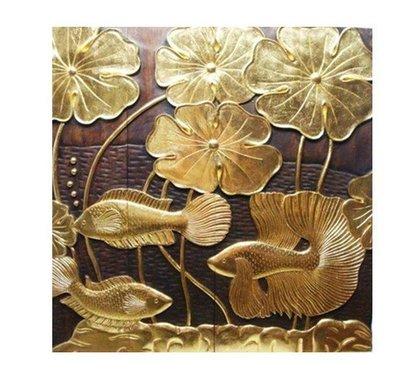 INPHIC-東南亞 家居飾品 泰國風格 木雕 掛飾 浮雕 金魚蓮花