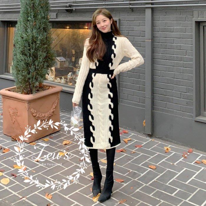 【ZEU'S】韓國秋冬新款復古高領針織連身裙『 12118806 』【現+預】L