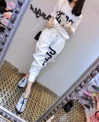 `惗.Study溡光 歐洲站2020夏季潮新款休閒運動套裝女正韓寬松顯瘦洋氣百搭兩件套潮