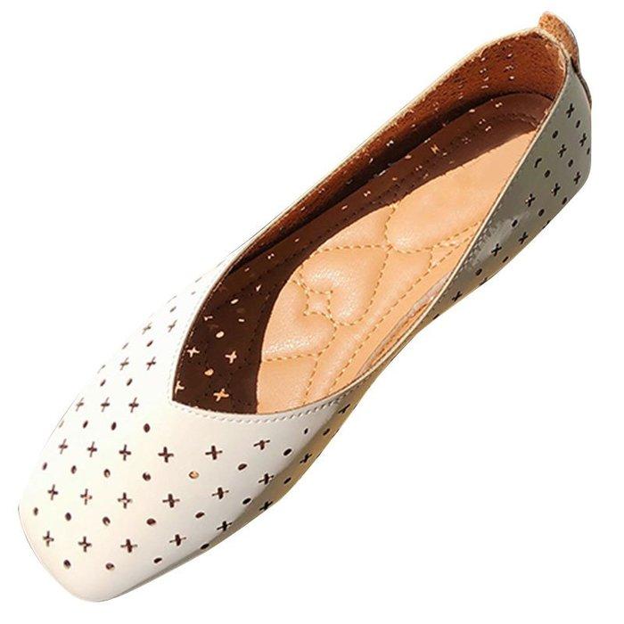 單鞋女夏2019韓版淺口方頭復古奶奶鞋平底鏤空舒適軟底懶人豆豆鞋【伍月生活小鋪】