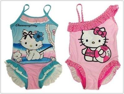 【伊兒媽】全新歐美水藍色蓬裙KITTY~粉色斜肩帶KITTY~寶寶兒童嬰兒連身泳衣~泳裝~