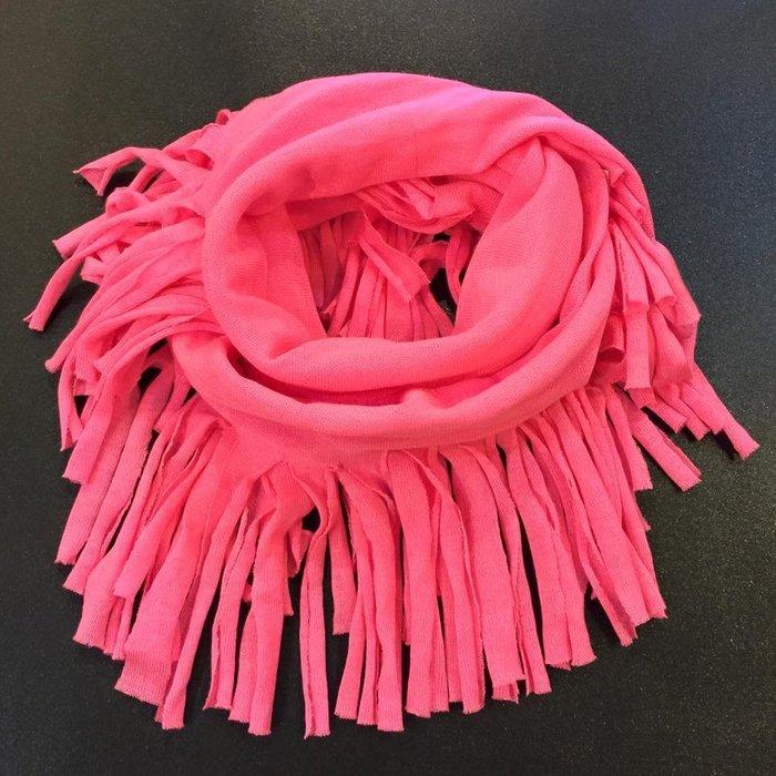 Aropostale Aero 女生 流蘇繞頸圍巾 螢光粉 現貨