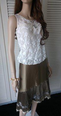 原價$27800同Blumarine 深受歐洲貴婦名媛愛牌 真絲拼接絲絨重工珠繡松石綠斜尾裙