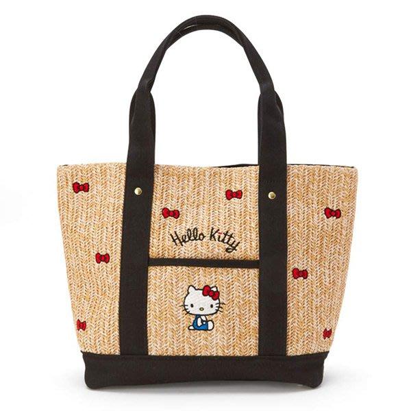 【凱蒂貓竹籃風肩背包】凱蒂貓 竹籐風 肩背包 高質感 刺繡 日本正版 該該貝比日本精品 ☆