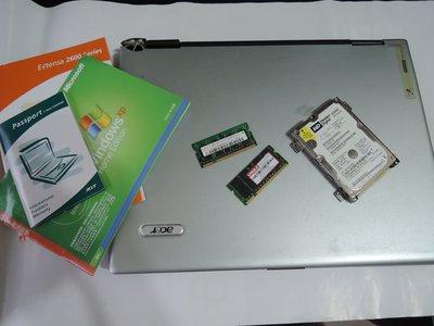 15吋筆電零件機,Acer Extensa 2609WlCi WD40Gb硬碟 1GB DDR2667記憶卡等 樹林自取 新北市