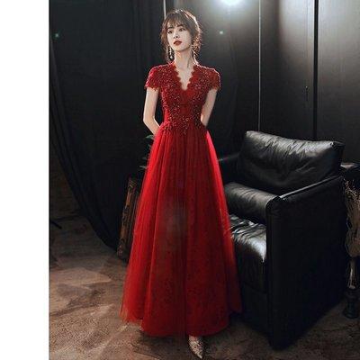 敬酒服新娘新款夏季婚禮酒紅色結婚女禮服仙氣紗裙露背答謝宴
