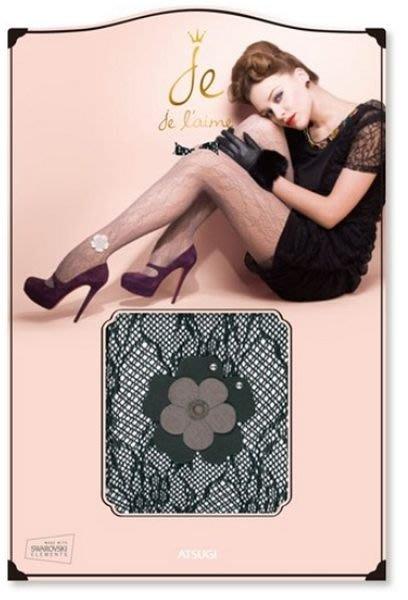 【拓拔月坊】厚木 ATSUGI Je l'aime 絲襪 雙色水鑽花朵 蕾絲網襪 日本製~現貨!