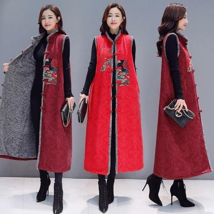 【免運】中國民族風馬甲女提花加絨繡花復古中長棉麻背心外套洋裝