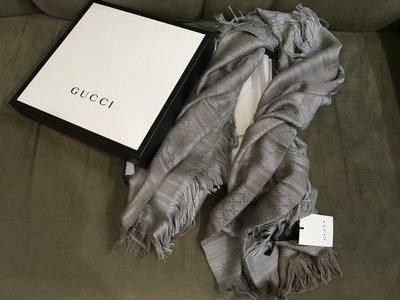 二手旗艦 GUCCI  大象灰 鑽石紋 雙G GG LOGO 圍巾 (全新商品) (中友店) 19901