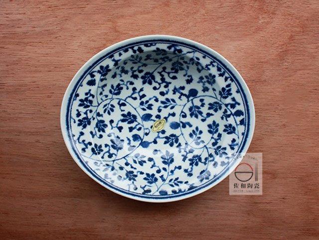 +佐和陶瓷餐具批發+【XL070720-8有田燒藍染長缽-日本製】日本製 碗缽 有田燒 藍染 唐草紋 煮物 青菜  家用