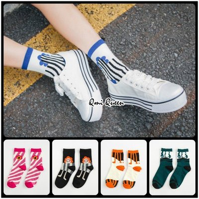 Q朵米-性格風格幾何拼接圖案條紋中筒襪 長襪 彈性襪