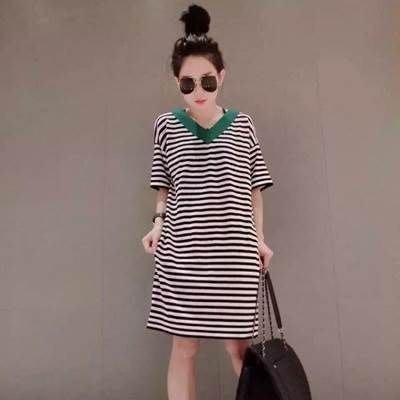 連身裙 條紋洋裝-時尚休閒百搭直筒女裙子2色73hd78[獨家進口][巴黎精品]