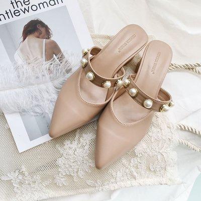 預購 歐美珍珠尖頭高跟鞋 粗跟復古百搭...