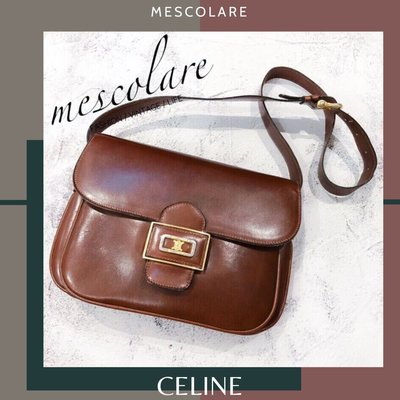 mescolare二手精品正品Celine vintage 稀有色深紅咖box方包肩背包凱旋門Logo是夢幻逸品