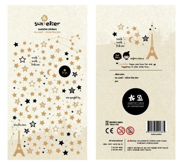 @追花【Sonia 燙金星星月亮裝飾貼紙】星星鐵塔月亮星座*手機拍立得卡片手帳裝飾貼