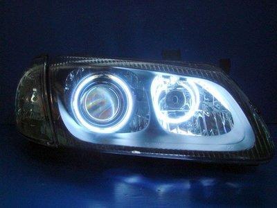 小亞車燈╠  全新手工版SENTRA-180 N16雙CCFL黑框光圈魚眼大燈.送黑角燈