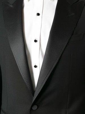 LANVIN 緞面劍領羊毛單排釦西裝禮服 原價15萬