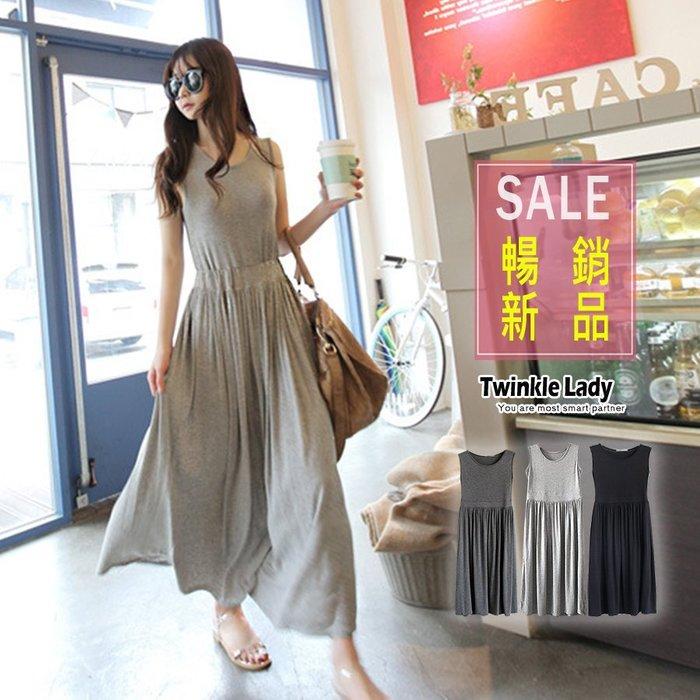 『現貨』超顯氣質 舒適莫代爾 修身顯瘦高腰設計 長款背心裙洋裝 長洋裝【GL0023】- 崔可小姐