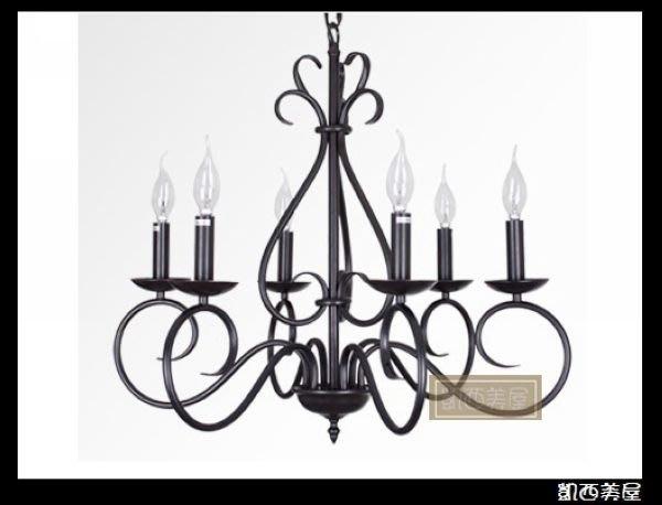 凱西美屋 古典艾琳娜鍛鐵蠟燭六燈 鄉村蠟燭吊燈