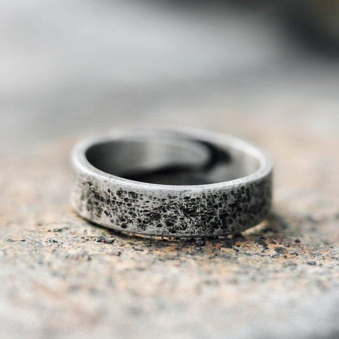 CHIC U 手作飾品復古肌理925銀飾戒指男女潮個性簡約可調節中戒指環手飾品
