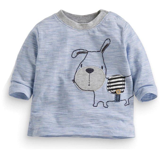 ☆草莓花園☆BM-1153新品歐美風兒童長袖衣服 純棉童T 男童 藍條紋小狗 兒童t恤