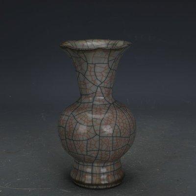 ㊣姥姥的寶藏㊣ 宋代哥窯手工瓷金絲鐵線花口賞瓶  古瓷器古玩古董收藏擺件
