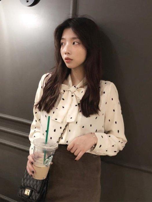 蕾絲打底衫春秋新款韓版女裝波點百搭學生長袖雪紡蕾絲襯衫上衣女打底衫