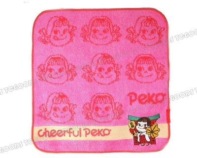 【台中好物】日本 PEKO 刺繡和服櫻花桃粉純棉小方巾 毛巾 運動毛巾 美容巾 洗臉巾