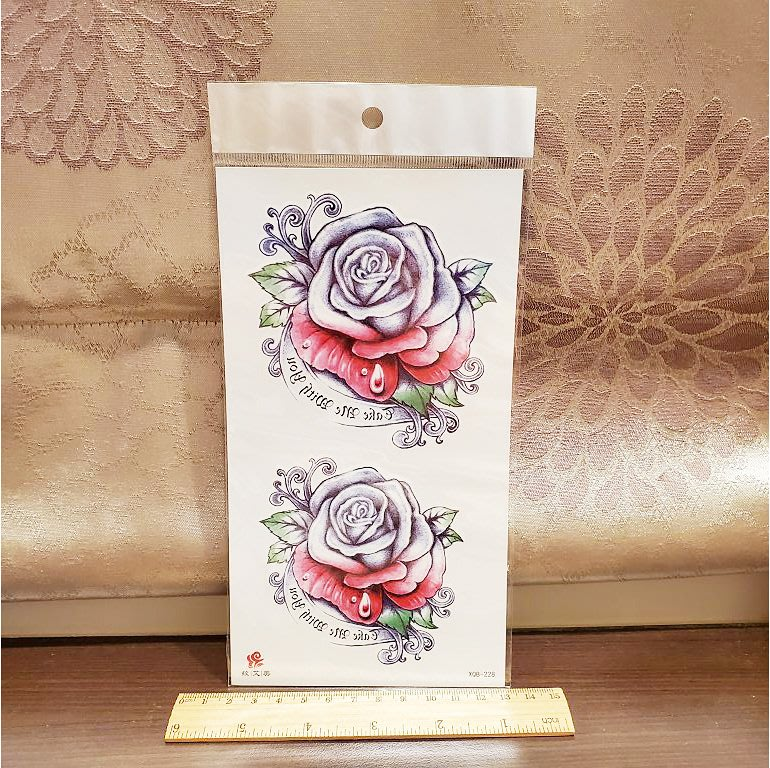 【萌古屋】美式玫瑰小腿手臂大圖 - 男女防水紋身貼紙刺青貼紙XQB-225 K00