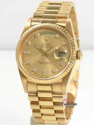 *台北腕錶* 勞力士 紅蟳 Rolex President Day-Date 18238  鑽石面盤  186643