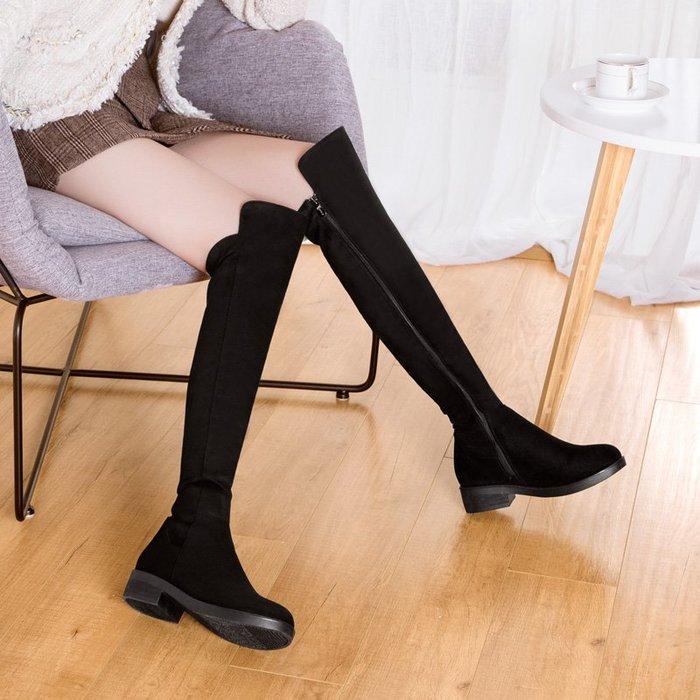棉靴 機車靴 潮牌 過膝 長靴 瘦瘦女靴長筒靴高筒平底秋冬加絨女鞋
