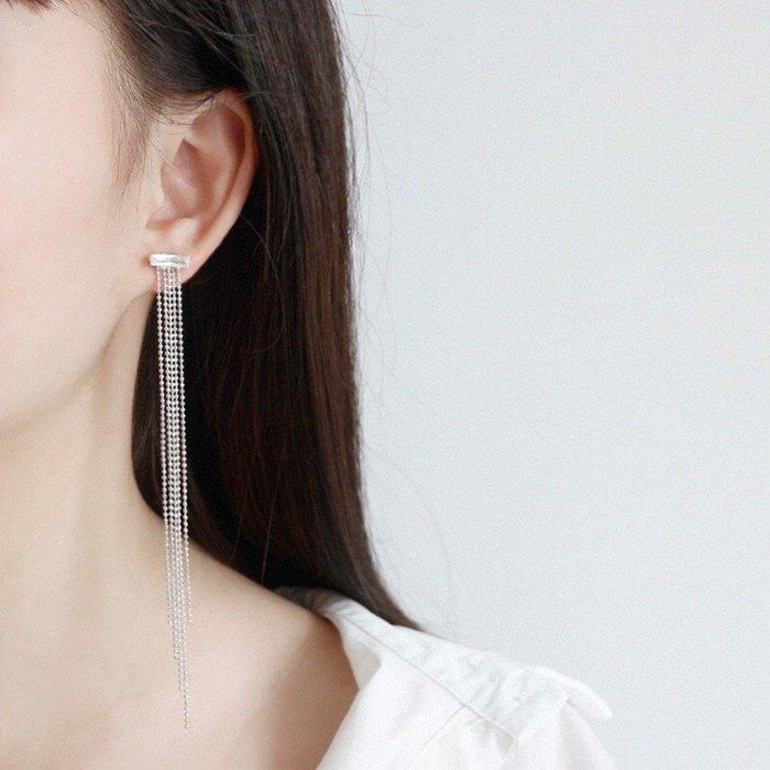 《現貨》925純銀 氣質百搭方形鋯石圓珠長鏈流蘇 耳環 耳針 耳墬 生日 情人節聖誕節禮物 EA243 寶妮子